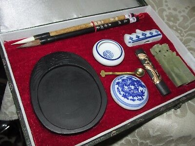 Vintage Chinese Asian Calligraphy Painting Set Boxed & Unused Souvenir 22CmL