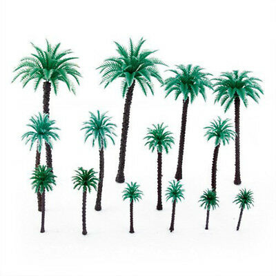 14Pcs 1.9 Inch - 6.6 Inch Model Coconut Palm Trees Layout Train Scale 1/50