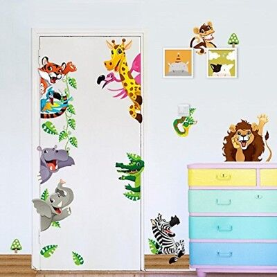 Wall Sticker ElecMotive Cute Jungle Wild Animal Decals for Kids Baby Bedroom