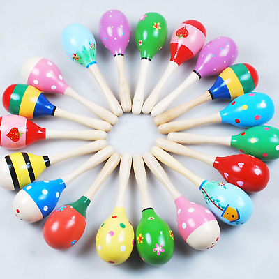 Baby Kids Newborn Sound Music Gift Rattle Wooden Maraca Colorful Toys