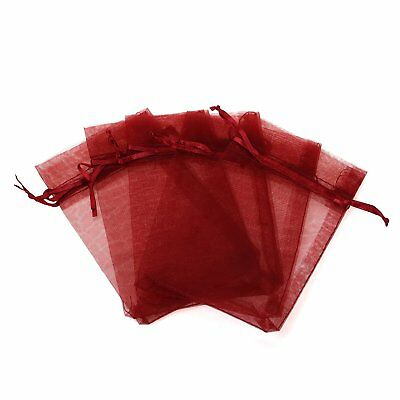 KUPOO Pack of 50PCS 6x8 Inch Organza Drawstring Gift Bag Pouch Wrap for Wine red
