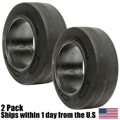 2PK 16X5X10-1/2 16x5-10.5 Solid Flat Proof Press-On Smooth Forklift Tire 16510
