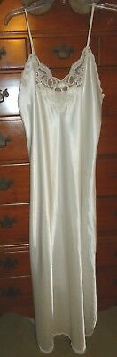 VTG Christian Dior Lingerie Nightgown Ivory Laced Bodice & Side Slits Size: LG