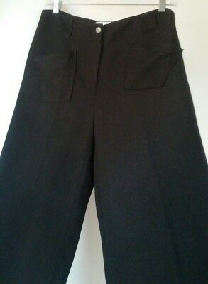 vtg 90s minimal black cropped linen blend trouser pants totokaelo M med pocket