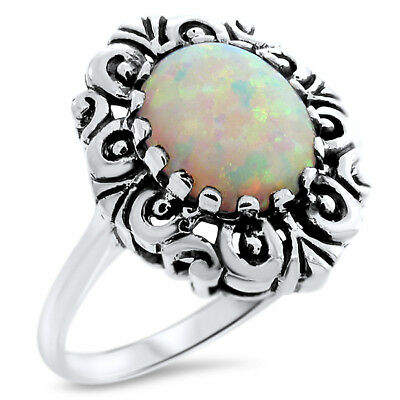 Antique Victorian Style 925 Sterling Silver White Lab Opal Ring Size 7.75,  #836