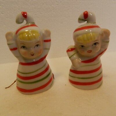 Set of 2Very Cute Mini Candy Cane Bells, Marked Japan, Green & Red w/Yellow Hair