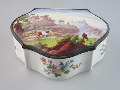Large Antique 18th Century Staffordshire Enamel Box Circa 1780