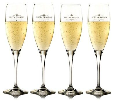 4 X Moet Chandon Champagne Glasses Flutes Cheapest On Ebay
