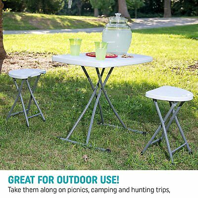 set of 2 portable plastic folding outdoor chairs stool with durable steel frame