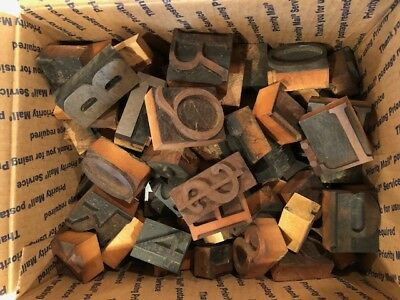 Vintage Letterpress  wooden type - over 100 pieces (box 2 )