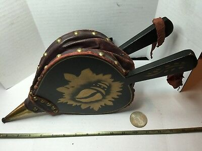 Vintage Wood,Brass and Leather Hand Bellows Fireplace Starter