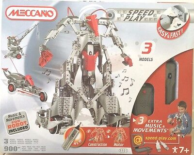 Meccano Speed Play Interactive Robot 9901 900+ Pieces 3 Models New