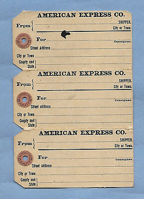 VINTAGE AMERICAN EXPRESS SHIPPING TAGS MONEY ORDERS 1909 LOT of 3