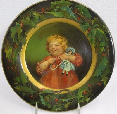 vintage C D KENNY & CO CHRISTMAS TIN ADVERTISING PLATE ca.1901 little girl &doll