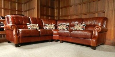 Victorian Style Chestnut Antique Tan Brown Leather 5-7 Seater Corner Club Sofa