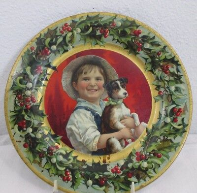 vintage C D KENNY & CO CHRISTMAS TIN ADVERTISING PLATE ca.1901 little boy & dog