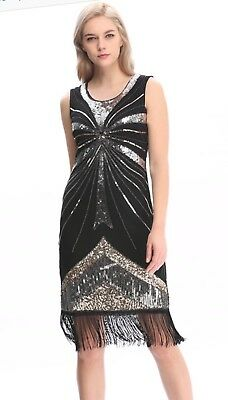 dress gatsby flapper 1920s size beaded vintage 6 fringe sequin s uk 24 14 great