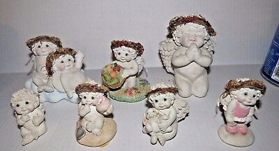 Unique Lot of  7 Dreamsicles Figurines Kristen Hand Painted Plaster Cherubs