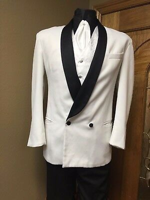 Tuxedo White Double Breasted Black Lapel Formal Steampunk Cosplay Dance Theater
