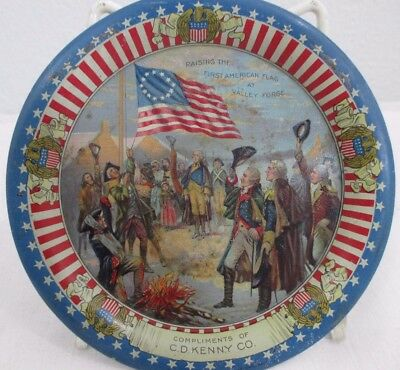 vintage C D KENNY & CO TIN TIP TRAY-GEO. WASHINGTON VALLEY FORGE