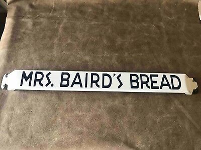 Old Mrs. Baird's Bread Grocery Store Porcelain Advertising Door Push Bar Sign