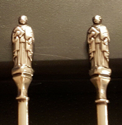 Antique 1890 Pair of Figural Solid Silver Apostle Tea Spoons  H&T 2nd set