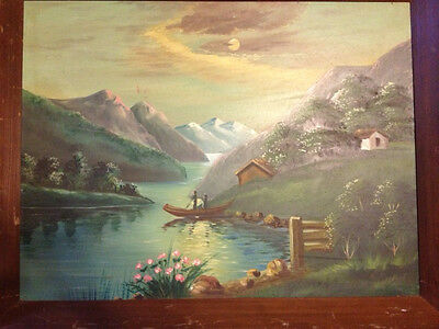 """Large Vintage Original """"Rural Landscape With River And Mountains"""" Oil on Canvas"""