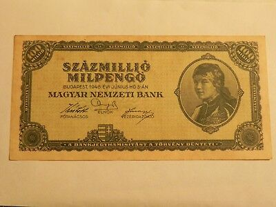 Hungary 100 Million Milpengo banknote 1946 - Pick 130 - Circulated - JCcug