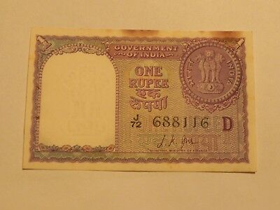 India 1 Rupee banknote - 1957 - Circulated, stain - JCcug