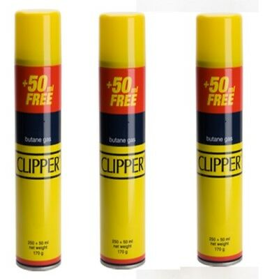 New 3 X Clipper Butane Gas Lighter Fuel Refill 300Ml-Universal