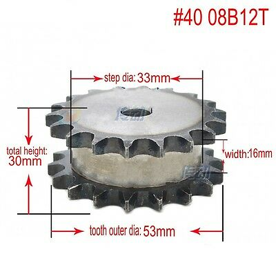 #40 Chain Drive Sprocket 08B12T Double Strand 12T Pitch 12.7mm For #40 Chain