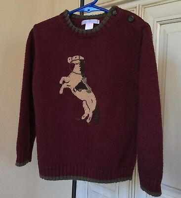 Janie and Jack Fall Frontier Horse Sweater Western Burgundy Boys ~ Size 4T