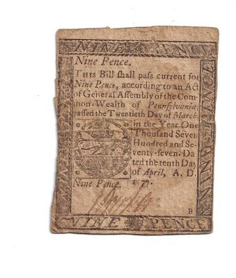 1777 colonial currency 9 PENCE PENNSYLVANIA  VERY RARE NOTE