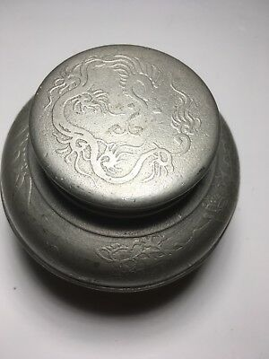 A Fine Old Pewter Chinese Tea Caddy 胜章