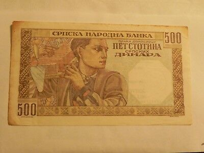 WWII currency - Serbia - 500 Dinar - 1941 - Circulated - JCcug - pick 27