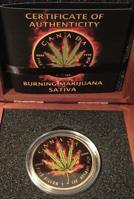 2016 Burning Marijuana SATIVA.Canadian maple leaf 1oz. Silver Coin #175/420 RARE