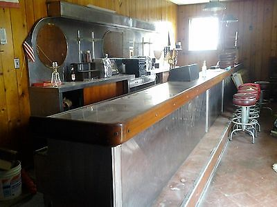 Vintage Art Deco Stainless Steel Commercial Bar and Bar Back