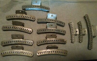 "Vintage (12) Aluminum Hair Marcelle Wave Clips 2"",3"",4"" (2 are mervin wave NYC)"