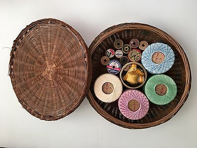 Antique Woven Sewing Basket With Vintage Notions