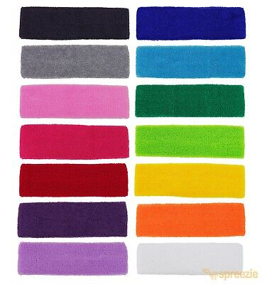 12 Pack Sweatband Terry Cotton Headband Absorbent Workout Gym Sport Band Elastic