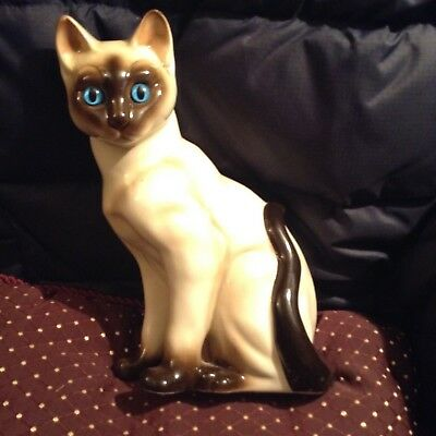 "Vintage Porcelain Seal Point Siamese Cat Blue Eyes 9""  tall Korea Crown Sticker"