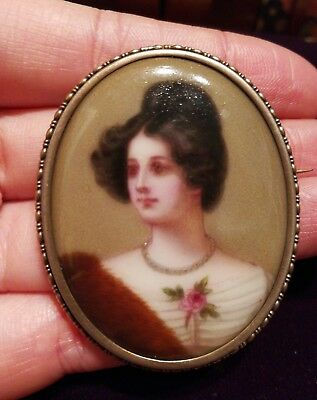 antique vintage German hand painted porcelain miniature portrait silver 800