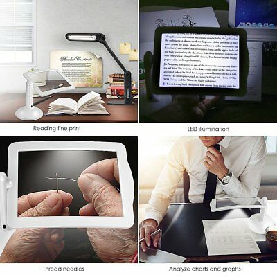 Handsfree 3X Magnifier 2 LED Magnifying Tool Lens Desk Table Light Reading Lamp