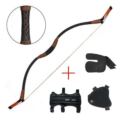 Traditional  Recurve Bow Hunting Longbow 30-50lbs Finger & Arm & Hand Guard