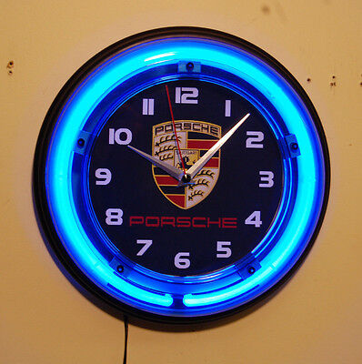 PORSCHE AUTO blue neon wall clock