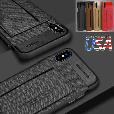 Fits iPhone X/8/7 Plus Case ID Card Wallet Leather kickstand Slim Armor Cover