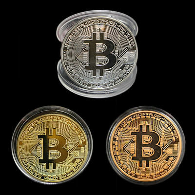 3 Bitcoin Commemorative Round Collectors Coin Bit Coin is Gold Plated Coins ILOV