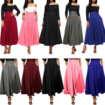 Women's High Waist Pleated Swing Skirt Ladies A Line Long Umbrella Maxi Dress
