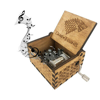 Retro Engraved Wooden Music Box Hand-cranked Interesting Toys Collectible Gift