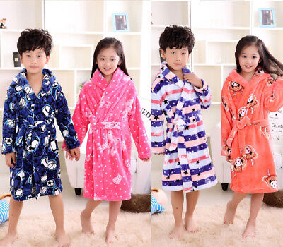 Kids Girl Boys Flannel Sleepwear Homewear Pajamas Hooded Soft Nightwear Bathrobe